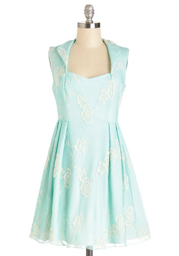 Tending the Tea Shop Dress - Mint, White, Embroidery, Pleats, Special Occasion, Party, Pastel, A-line, Sleeveless, Summer, Better, Mid-length, Knit, Mixed Media