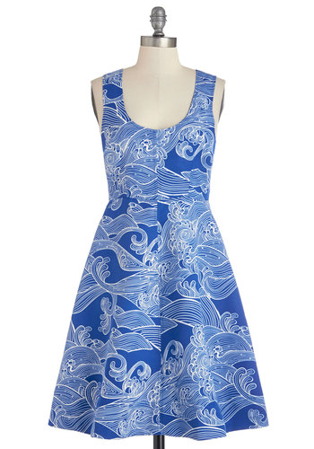 Plenty by Tracy Reese Waves and Means Dress by Plenty by Tracy Reese - Nautical, Blue, White, Print, A-line, Sleeveless, Summer, Better, Scoop, Mid-length, Knit, Novelty Print, Social Placements, Daytime Party