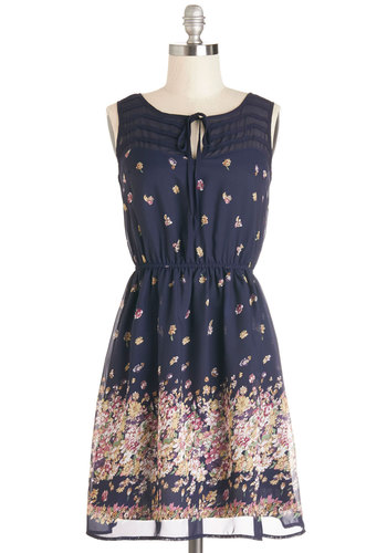 Library Lingering Dress - Multi, Floral, Tie Neck, Casual, A-line, Sleeveless, Good, Woven, Mid-length, Chiffon, Blue, Spring