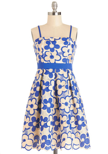 Glisten to the Music Dress - Blue, Gold, Floral, Pleats, Party, A-line, Summer, Woven, Better, Mid-length, Multi, Spaghetti Straps, Sundress
