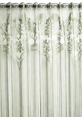 Elegance Upon a Time Curtain - Woven, Green, French / Victorian, Best, Solid, Fringed, Lace