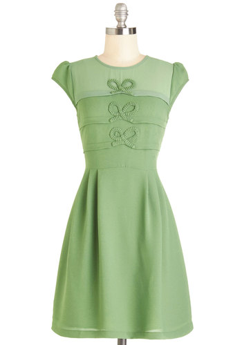 Bow it by Heart Dress - Green, Solid, Bows, Pleats, Casual, Vintage Inspired, 60s, A-line, Cap Sleeves, Woven, Better, Mid-length, Exposed zipper, Crew, Top Rated