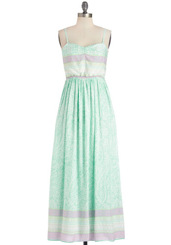 Feeling Felicitous Dress - White, Print, Casual, Beach/Resort, Pastel, Maxi, Sleeveless, Summer, Woven, Good, Sweetheart, Long, Mint, Purple, Sundress