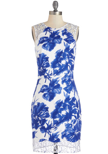 Smitten Up in My Bloom Dress - Mid-length, Cotton, Woven, Lace, Blue, White, Floral, Lace, Special Occasion, Daytime Party, Graduation, Shift, Sleeveless, Better, Scoop