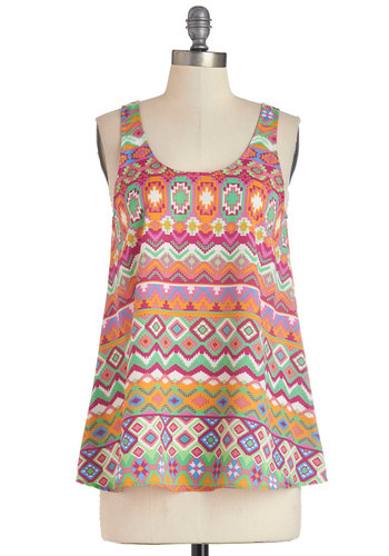 Deck Party Top - Mid-length, Woven, Multi, Orange, Pink, Print, Sleeveless, Spring, Summer, Multi, Sleeveless, Casual, Scoop