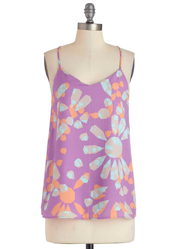 With Flowing Colors Top - Purple, Sleeveless, Mid-length, Woven, Purple, Orange, Mint, Print, Casual, Spaghetti Straps, Spring, Summer
