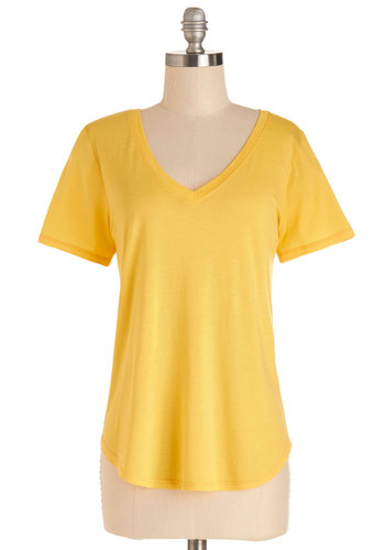 Plain and Simply Sweet Top in Lemon - Mid-length, Knit, Yellow, Solid, Casual, Short Sleeves, Spring, Summer, Variation, Yellow, Short Sleeve, Basic, V Neck, Good