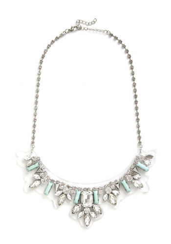 Retrospective Reception Necklace - White, Mint, Solid, Rhinestones, Special Occasion, Statement, Pastel, Good, Social Placements, Silver