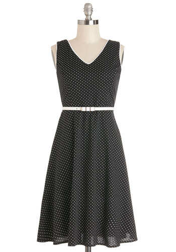 Train Tourist Dress - Black, White, Polka Dots, Trim, Belted, Casual, A-line, Sleeveless, Good, V Neck, Woven, Mid-length, Full-Size Run