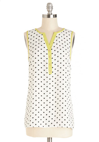 Snoozin' in the Shade Top - White, Black, Polka Dots, Buttons, Sleeveless, Spring, White, Sleeveless, Trim, Summer, Good, Mid-length