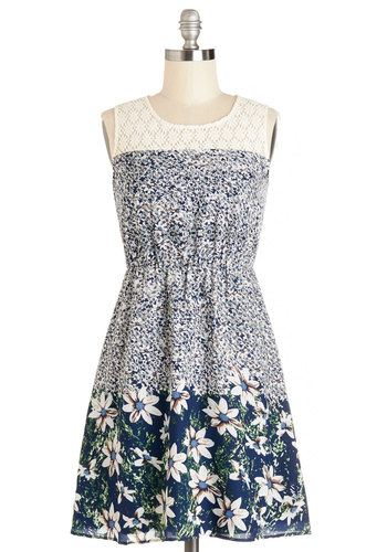 Washington Flair Park Dress - Floral, Crochet, Casual, A-line, Sleeveless, Summer, Woven, Good, Scoop, Mid-length, Sheer, Multi