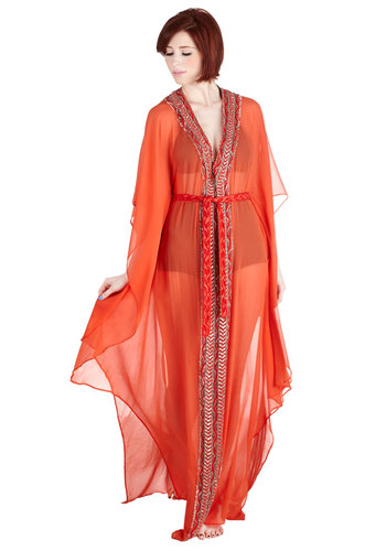 Queen of the Cabana Cover-Up Dress - Chiffon, Sheer, Woven, Orange, Coral, Solid, Beads, Belted, Beach/Resort, Summer, Cover-up