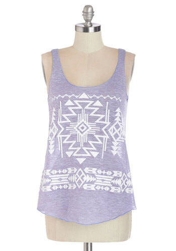 Hit the Railroad Tank - Purple, Sleeveless, Mid-length, Sheer, Knit, Purple, Casual, Tank top (2 thick straps), Spring, Summer, White, Print, Scoop, Good, Novelty Print