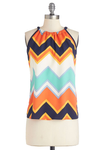 When All is Said and Fun Top - Multi, Sleeveless, Multi, Chevron, Daytime Party, Sleeveless, Summer, Mid-length, Good