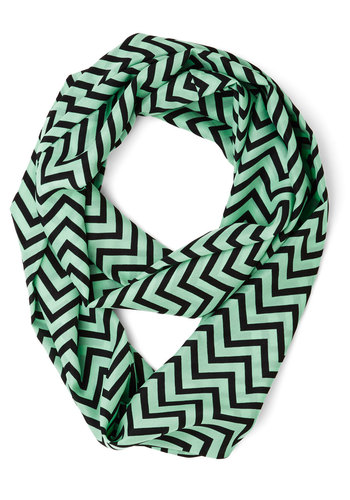 It's a Fine Line Scarf - Mint, Black, Chevron, Casual, Festival, Green, Woven