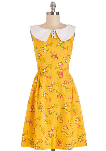 California Sunset Dress by Bea & Dot - Mid-length, Woven, Yellow, Multi, Floral, Buttons, Peter Pan Collar, Casual, A-line, Sleeveless, Better, Collared, Pockets, Vintage Inspired, 60s, Exclusives, Private Label, Sundress, Show On Featured Sale