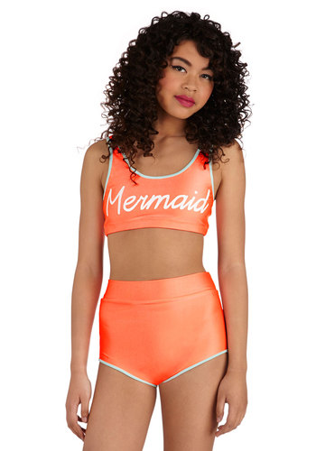 You'll Flipper Over This Two-Piece Swimsuit - Knit, Orange, Orange, Green, Seamless, Beach/Resort, Statement, Urban, Quirky, Athletic, High Waist, Summer, Novelty Print, Vintage Inspired, 80s
