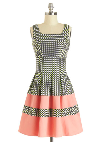 Lavish Luncheon Dress by Darling - Print, Pleats, Casual, A-line, Sleeveless, Better, Mid-length, Knit, Pink, Black, White, Sundress