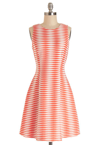 Dancing in Delight Dress - Red, White, Stripes, Casual, Americana, A-line, Sleeveless, Summer, Knit, Better, Scoop, Girls Night Out, Show On Featured Sale, Mid-length