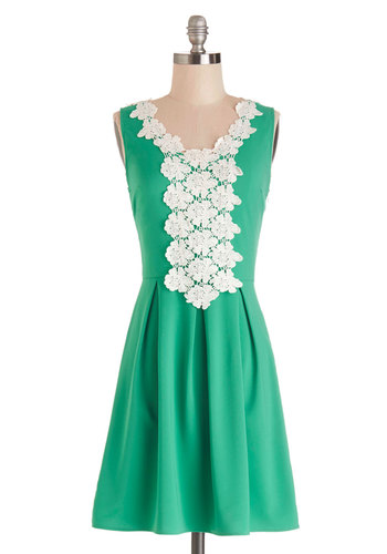 Sweet Crème de Mint Dress - Green, White, Crochet, Pleats, Casual, A-line, Sleeveless, Summer, Woven, Good, Mid-length, Mixed Media, Lace, Scoop