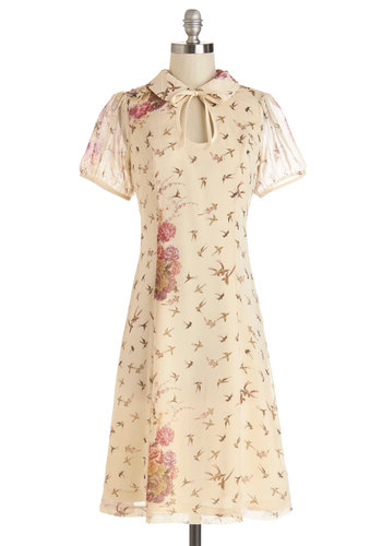 Ask for the Tune Dress - Cream, Pink, Brown, Floral, Print with Animals, Tie Neck, Casual, Short Sleeves, Woven, Good, Collared, Long, Vintage Inspired, 40s, A-line, Spring, Critters, Bird, Woodland Creature
