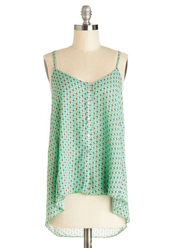 Happily Ever Crafting Top - Mid-length, Woven, Mint, Print, High-Low Hem, Spaghetti Straps, Spring, Summer, Green, Sleeveless