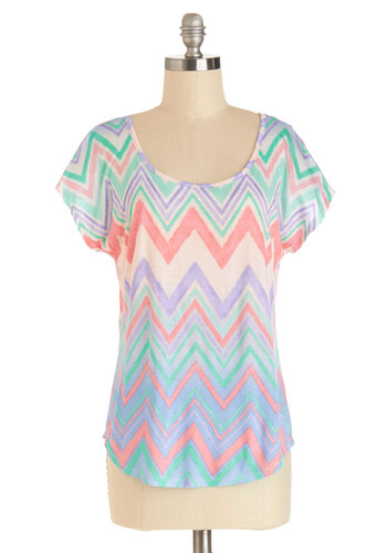 Chevron and Poppin' Top - Multi, Short Sleeve, Mid-length, Jersey, Knit, Multi, Blue, Purple, Pink, Chevron, Casual, Pastel, Short Sleeves, Spring, Summer, Scoop, Good