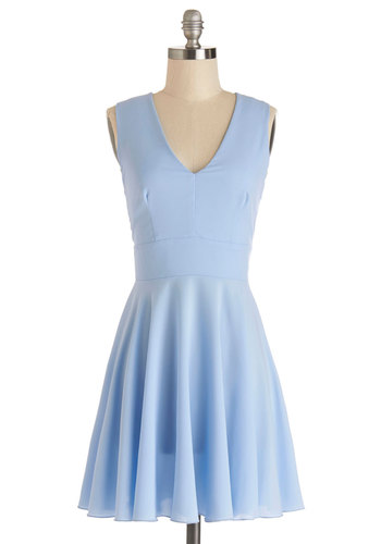 Sunny Skies Ahead Dress in Blue - Blue, Solid, Cutout, Casual, Sleeveless, Summer, Better, V Neck, Woven, A-line, Short