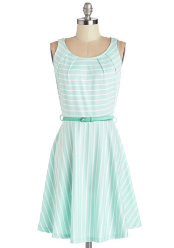 C'mon Fete Happy Dress in Aqua - Mint, White, Stripes, Belted, Casual, A-line, Sleeveless, Summer, Knit, Good, Scoop, Variation, Mid-length