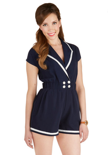 Cruise Connector Romper - Blue, White, Solid, Buttons, Trim, Casual, Nautical, Vintage Inspired, Cap Sleeves, Woven, Summer, Romper, Good