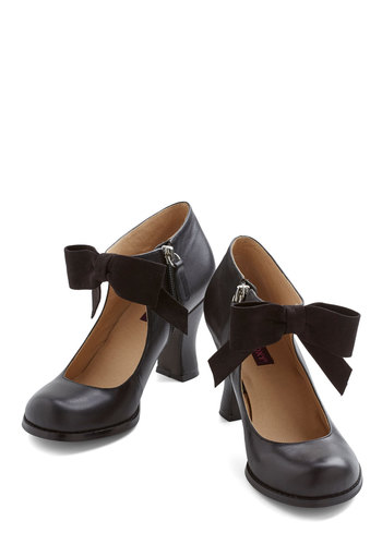 Saturday Strut Heel in Black - Black, Solid, Bows, Wedding, Party, Darling, Better, Chunky heel, Vintage Inspired, Variation, Social Placements, Leather
