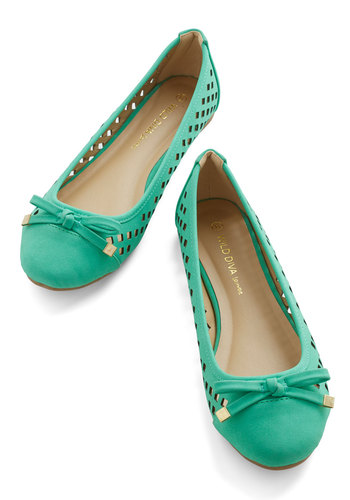 Frolic in Fresno Flat - Green, Solid, Bows, Cutout, Work, Casual, Good