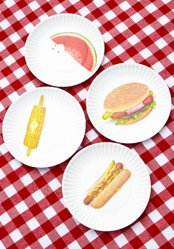 Perpetual Picnic Plate Set by One Hundred 80 Degrees - Summer, Americana, Multi, Good, Hostess, Social Placements