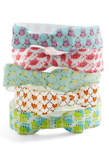Critters Galore Hair Tie Set - Multi, Print with Animals, Casual, Owls, Cats, Critters, Exclusives, Multi, Bows, Summer, Gals, Under $20, Woodland Creature