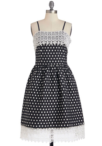 Moonlit Serenade Dress - White, Polka Dots, Party, A-line, Spaghetti Straps, Better, Crochet, Woven, Long, Lace, Pockets, Black, Sundress