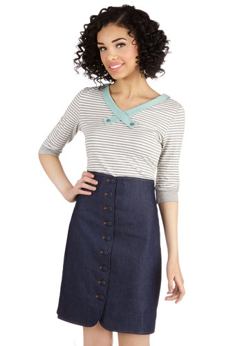 Waist Not Want Not Skirt - Pencil, Good, Blue, Mid-length, Cotton, Woven, Spring, Summer, Fall, Blue, Solid, Buttons, Winter, Work, Denim
