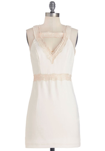 That's So Ladylike You Dress - Cream, Solid, Lace, Shift, Sleeveless, Woven, Better, V Neck, Short, Lace, Pink, Girls Night Out