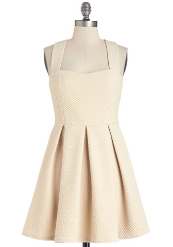 Neutral by Nature Dress - Cream, Solid, Pleats, A-line, Sleeveless, Summer, Short, Knit, Daytime Party