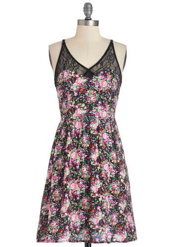 Cutest on the Cape Dress - Multi, Floral, Lace, Party, A-line, Sleeveless, Woven, Good, V Neck, Mid-length, Lace, Sundress