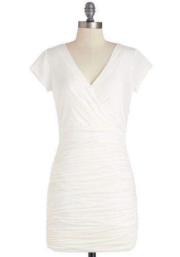 Got It All Together Dress - Cream, Solid, Ruching, Casual, Shift, Cap Sleeves, Summer, Knit, Good, V Neck, Short, Girls Night Out