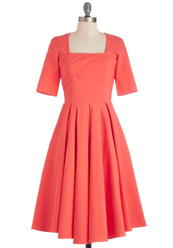 Good as Bold Dress - Coral, Solid, Party, Vintage Inspired, 50s, A-line, Short Sleeves, Better, Knit, Pleats, Pockets, Long
