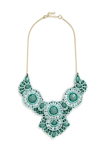 Medallion Marvel Necklace in Mint - Mint, White, Solid, Beads, Special Occasion, Statement, Pastel, Better, Variation, Spring, Summer, Silver, Gals