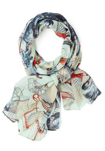 Setting Sail Scarf - Blue, Multi, Novelty Print, Casual, Nautical, Blue, Spring, Summer