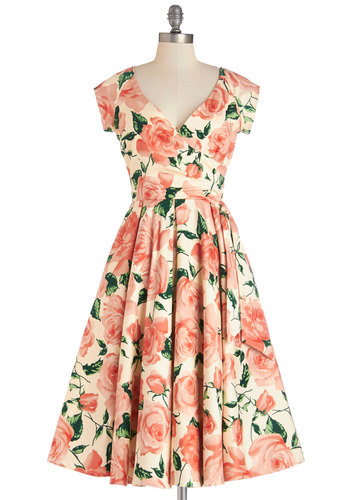 Layered Cupcakes Dress in Pink - Floral, Pleats, Summer, Woven, Better, V Neck, Pink, Green, Cap Sleeves, Daytime Party, Fit & Flare, Long