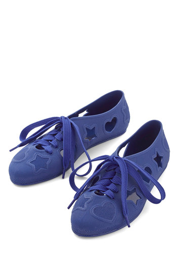 Haptically Happy Flat in Cobalt - Flat, Blue, Solid, Cutout, Casual, Lace Up, Variation, Summer