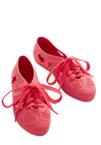 Haptically Happy Flat in Crimson - Flat, Red, Solid, Cutout, Casual, Lace Up, Variation, Summer