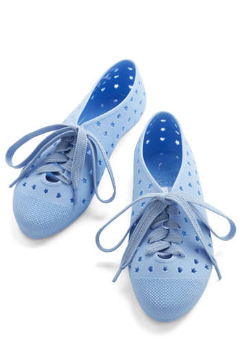 Tremendous Touch Flat in Pastel Blue - Flat, Blue, Solid, Cutout, Casual, Urban, Kawaii, Better, Lace Up, Variation, Pastel, Summer