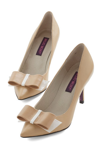 New Role Ready Heel - Mid, Leather, Tan, Tan / Cream, Solid, Bows, Party, Work, Daytime Party, Darling, Better, Social Placements