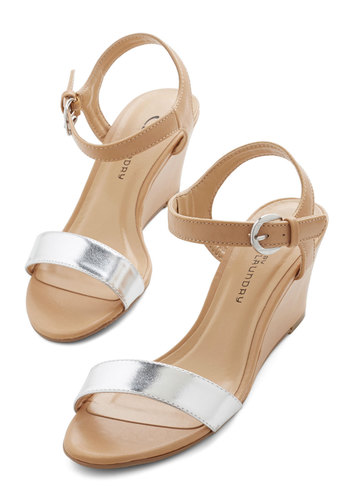 Draw the Line Sandal in Silver - Wedge, Mid, Faux Leather, Tan / Cream, Silver, Solid, Daytime Party, Colorblocking, Variation, Summer, Social Placements