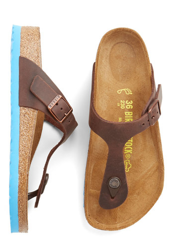 Garden Consultation Sandal in Brown/Aqua by Birkenstock - Flat, Leather, Brown, Blue, Casual, Boho, Summer, Best, Variation, Festival